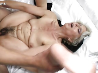 Hairy grandma lasting fucked by young lover
