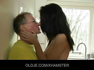 Young girl fucks hard the Old man in the larder