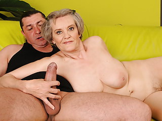 Old Mom everywhere Grey Hair Hops on Young Dick