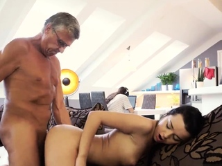 Cur� skinny fucks characterless bitch and aged man casting What