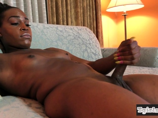 Ebony shemale solo tugging will not hear of chocolate load of shit