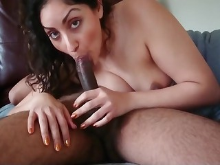 Indian milf house wife gives slow sensual Blowjob with an increment of swallows desi chudai POV Indian