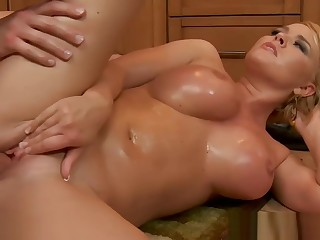 Chesty wife Krissy Lynn slurping cum in the scullery