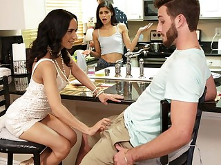 Horny challenge cheated on his wife of two luxury brunettes