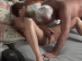Asian maja with dildo and cock