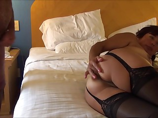 Asian maja show buttocks in black stockings