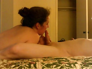 Wife fucks her sweetheart in a hotel room takes his load.