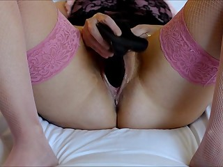 Black dildo basque and stockings height