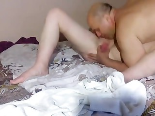 Eating his mature wife puss is his hobby