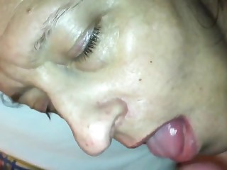 Ex-wife ass tap and mouth load