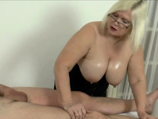 Grandmother masseuse brit rides and sucks