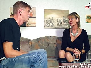 German mature elderly mother woman seduced younger son guy