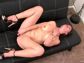 Gorgeous big knocker MILF masturbates with her favorite bagatelle