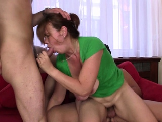 Busty mommy riding added to sucking at same time
