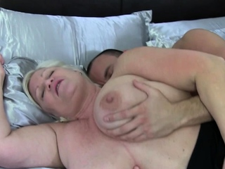 Chesty british grandmother bounces on cock