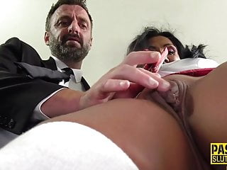 Mature sub gets throated together with pounded