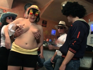 Big chest party in the bbw bar