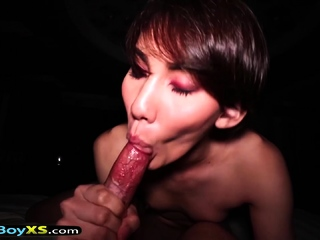 Hot and sexy tomboi looking asian shemale POV fucking