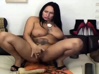 BBW mature shoves toys in will not hear of ass