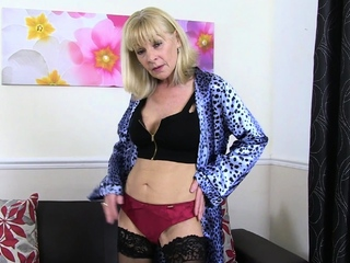 Skinny gilf Elaine soaks her knickers and sits atop a dildo
