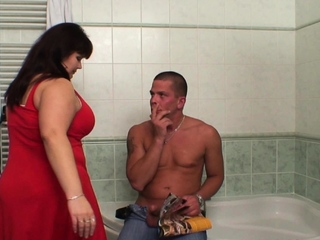 Big boobs matriarch helps him cum in cease to function b explode