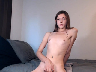 Small tits tranny Sienna Grace solo swear at with sextoy