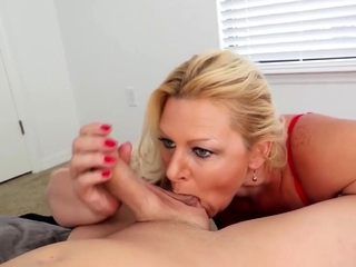 Foreplay handjob and oral by blonde milf wife