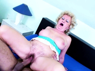 82yr OLD GRANNY WITH HAIRY PUSSY SEDUCE TO FUCK BY YOUNG BOY